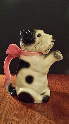 """China Dog Pitcher Black & white Dog with Pink Bow 7 & 3/4"""" high"""