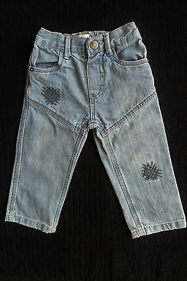 Baby clothes BOY 12-18m jeans stitched patches faded blue 2nd item post-free!