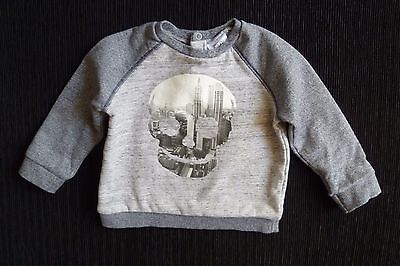 Baby clothes BOY 9-12m F&F skull/city grey sweatshirt/sweater2nd item post-free!