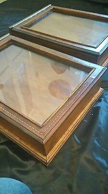 Inllaid mahogany display cases  x 2. From reclaimed materials