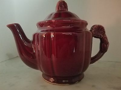 Shawnee Rosette Handle Teapot With Lid Burgandy 1940's Marked Usa