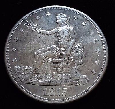 1875 CC Trade Dollar in Almost Uncirculated
