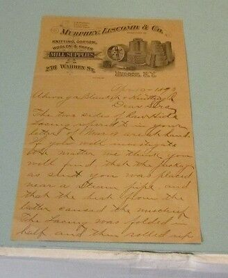 1893 Murphey Liscomb & Company Letter Hudson New York Mill Supplies Cotton Paper