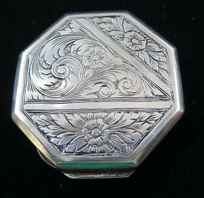 Vintage 800 Silver Octagonally Shaped Snuff Box w/ Chased Flowers Vines & Leaves