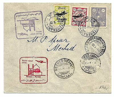Persia first flight cover Meshed to Teheran, stamps of 1928-29, two FFC cachets