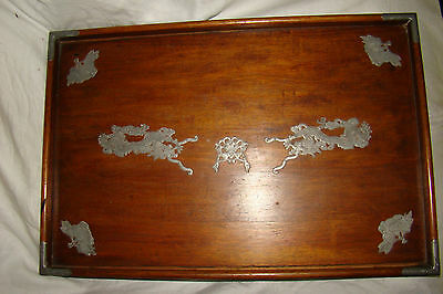 Antique Chinese HSIN HO CH'ENG WEIHAIWEI Wood Pewter Dragon Tray