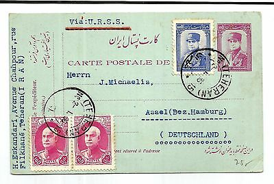 Persia old post card 1936 sent via U.R.S.S Russia 10D with additional 60D and 10