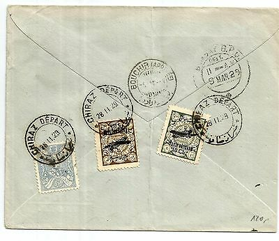 Persia old cover with 1928-9 5&10ch Air mail stamps Chiraz Shiraz to India, scar