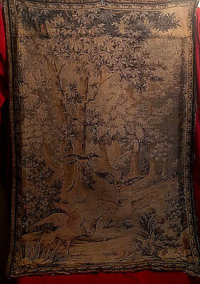 Antique French Tapestry Wall Hanging Featuring Crane & Geese