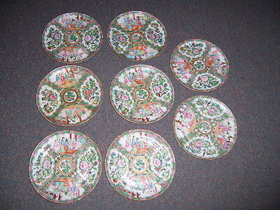Antique 19th Century Chinese Rose Medallion Porcelain Plates 8 1/2 in lot of 8