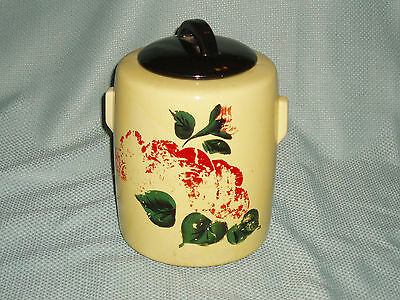 McCoy Cookie Jar  Round Yellow with Red Flowers & Green Leaves