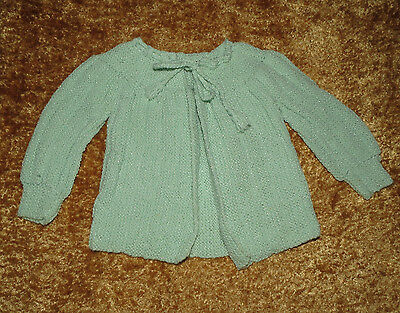 Handmade Vintage Baby Boy Girl Cable Knit Sweater Pastel Green Approx 6-12 M