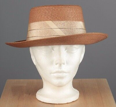 Vtg Men's 1940s 1950s Supernatural Straw Panama Hat sz 7 1/4 40s 50s #3411h