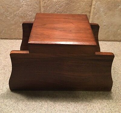 Vintage Unmarked 6 Pipe Display Holder Rack Stand With Humidor  Walnut