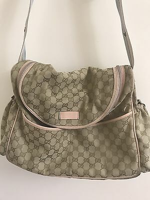 Gucci Messenger Diaper Bag With Pink Leather Trimming And Gucci Monogram