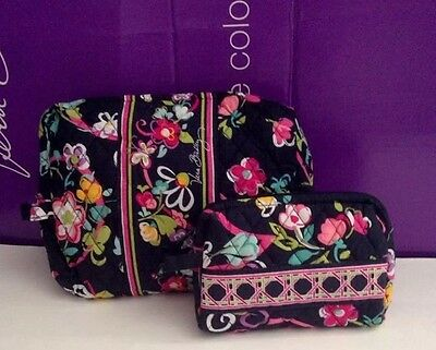 New Vera Bradley Travel LARGE & SMALL Cosmetic Bags SET In Ribbons