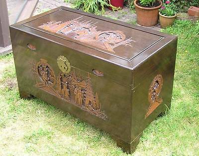 Large Oriental Chinese Carved Camphor Wood Blanket Box Chest Trunk Storage