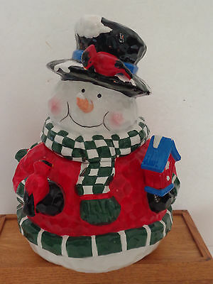 "Holiday Home Accents  12"" Tall Ceramic 2-Pc. Snowman Cookie Jar NIB"