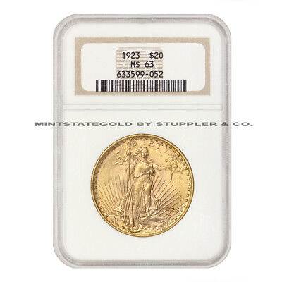 1923 $20 Saint Gaudens NGC MS63 Philadelphia Choice grade Uncirculated Gold Coin