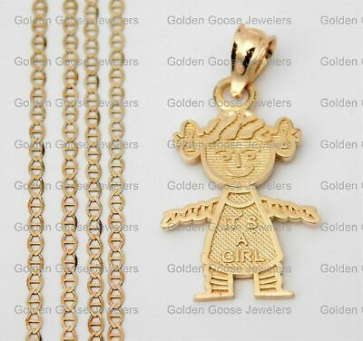 6d8d9ec02 Real 14k Yellow Gold Baby Girl Born Small Charm Pendant Gucci Chain 18inch