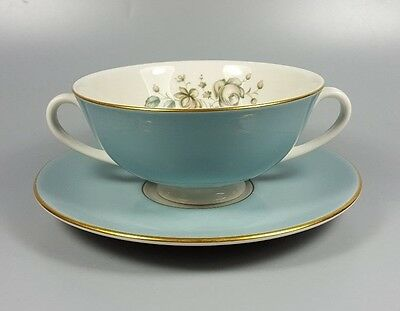 Royal Doulton Rose Elegans Tc1010 Cream Soup Coupe / Cup And Saucer (Perfect)