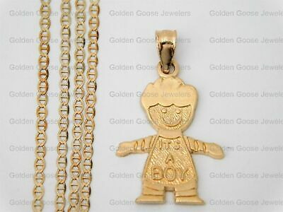 fb638f3af Real 14k Yellow Gold Baby Boy Born Small Charm Pendant Gucci Chain 18