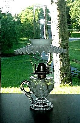 Antique Victorian Glass COIN DOT Opalescent Footed Kerosene Oil Lamp Finger Hold
