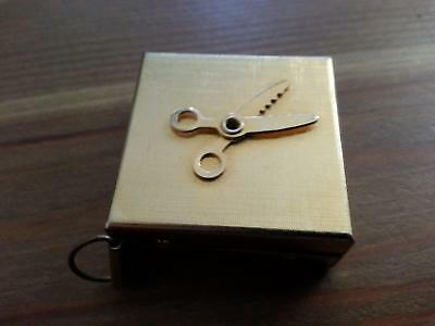 """Vintage Retractable Sewing Tape Made in Japan 36"""" GOLD TONE SCISSORS EMBLEM"""