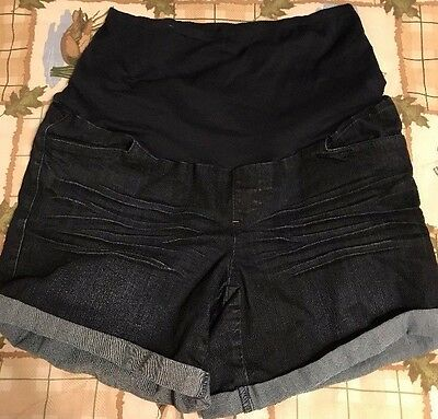 First Kick Maternity Blue Denim Cotton Blend Mini Women's Shorts - Size Large