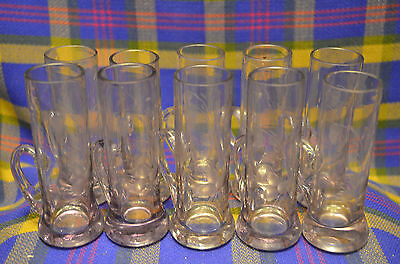 10 Etched  Handled Purple Shot Glasses with Columbine Flower Design
