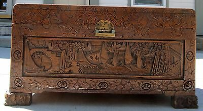 Antique Oriental Asian Hand Carved Trunk/Chest/Dowery Shipped in 1940's