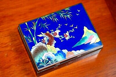Antique Japanese Silver Wire Cloisonne Enamel Box