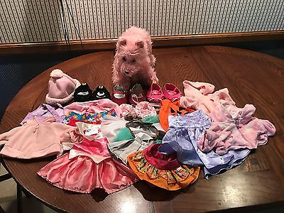 Build-a-Bear Dog and Lot of Accessories:  Dresses, shoes, skirts, bathrobe, etc.