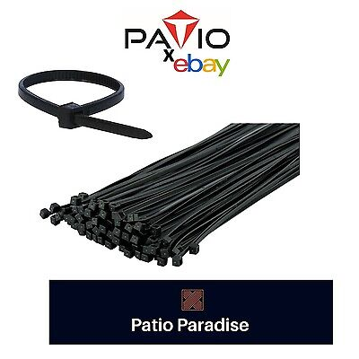 "100 PCS Pack 8"" inch Black Network Cable Cord Wire Tie Strap 40 Lbs Zip Nylon"