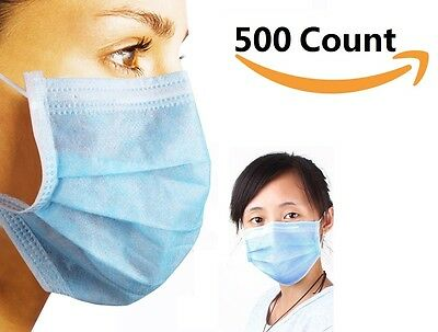 3-Ply Commercial Dental Surgical Medical Disposable Earloop Face Masks 500 pcs