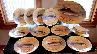 FRENCH LIMOGES 12 PC HANDPAINTED SIGNED FISH PLATTER W/ PLATES GRAVY ca 1900