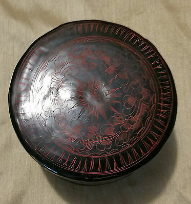 "Vintage/Antique Burmese Red Black Lacquer Wood Hand Painted Box  5"" x 3"""