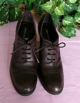 """8.5M Worthington """"Granny Shoes"""" lace-up 3.5"""" heel height, brown"""
