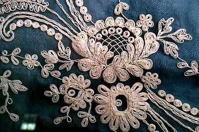 Antique CANNETILLE Filigree Textile Fabric Lace Spun EMBROIDERY Framed