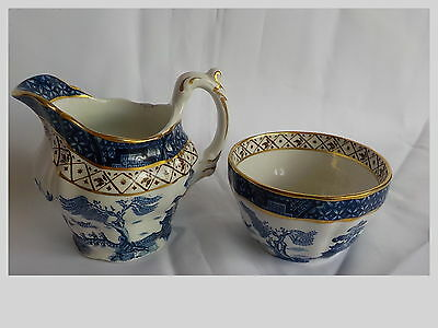 "Vintage Booths England ""Real Old Willow"" China Sugar Bowl & Creamer Excellent"