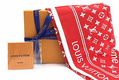 US Seller Louis Vuitton x Supreme Red White Bandana Scarf SOLD OUT