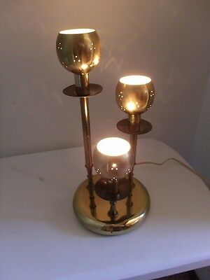 Vintage Mid-Century Atomic Retro 3 Tier Brass Candlestick Globe Table Lamp