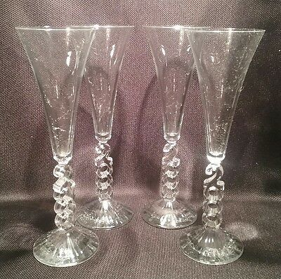 "Cristal d'Arques MILLENNIUM 2000 Set of 4 Crystal 10 1/4"" Fluted Champagne Glass"