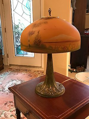 "Large Antique Reverse Painted Lamp 21"" tall"