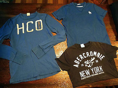 LoT oF 3 T-ShiRTS HoLLiSTeR ABeRCRoMBie LoNG & SHoRT SLeeVe XS S
