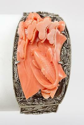 Antique Chinese Silver Filigree Finely Carved Coral Bracelet