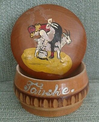 Rare vintage 1955 wood trinket box antique wooden container lady goat farm girl