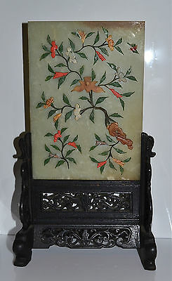 Antique Chinese Embellished Hardstone Table Screen