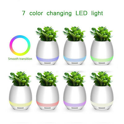 Flower Pot Plant Smart Music Bluetooth Speaker LED Light Touch Control Piano NEW