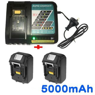 2x18V 5.0AH Battery for Makita BL1850 BL1840 BL1830 BL1815 Li-Ion+Rapid Charger